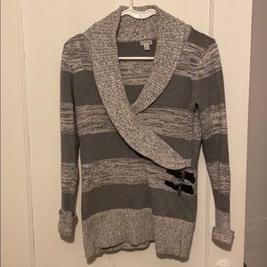 Guess wrap striped sweater with buckles